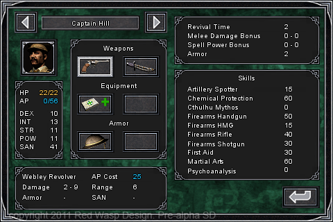 A character information screen (Standard Definition version)